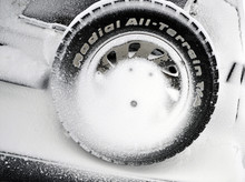 Spare Wheel On The Rear Of The Car Covered With Snow