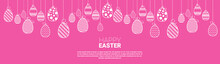 Decorated Colorful Eggs Easter Holiday Symbols Greeting Card Vector Illustration