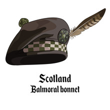 Scottish Bonnet With Pompon Embellished With A Brooch And Feather Falcon, Balmoral Bonnet