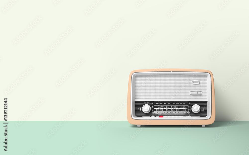 Fototapety, obrazy: Vintage antique retro old radio on background