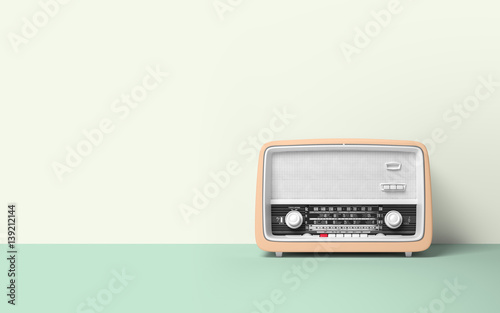 Obraz Vintage antique retro old radio on background - fototapety do salonu