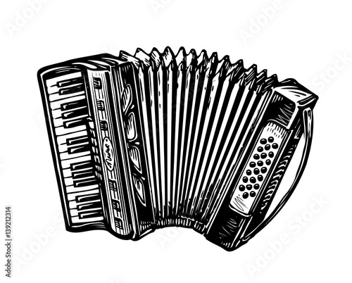 Fotografía  Hand-drawn vintage accordion, bayan