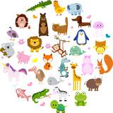 Fototapeta Fototapety na ścianę do pokoju dziecięcego - Vector illustration of cute animals and birds: alligator, Fox, giraffe, bear, cat, dog, elephant, frog, chicken, Zebra, turtle, rabbit, iguana, monkey, whale, unicorn, Koala, penguin