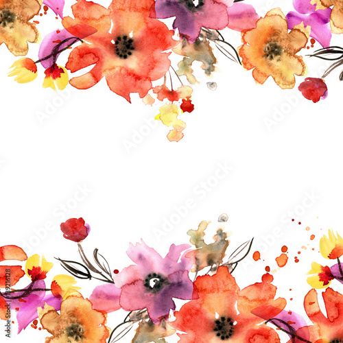 Fotografía  Cute watercolor hand painted floral background