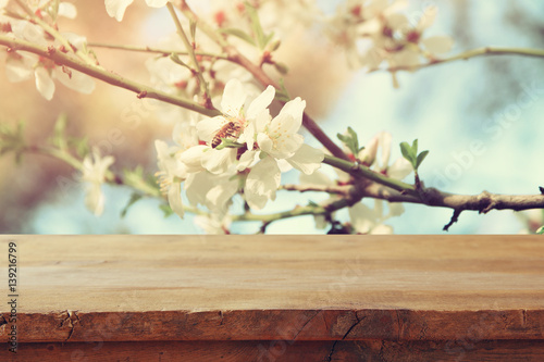 wooden table in front of spring cherry tree