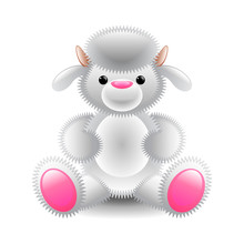 Cute White Lamb Soft Toy Isolated On White Vector