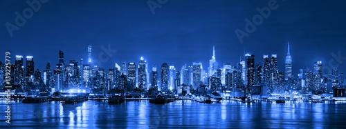 Valokuva  Skyline of New York City at night, Skyscrapers, downtown, USA