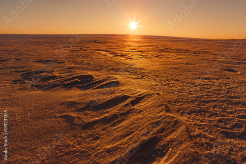 Spoed Foto op Canvas Bruin Martian sunset (Mars planet) red landscape. Looks like cold desert on Mars. A huge field of ice