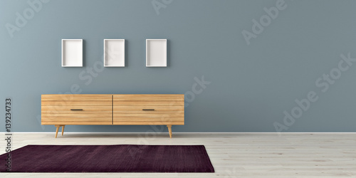 Sideboard and three empty frames in a bright room. 3d rendering. Canvas-taulu