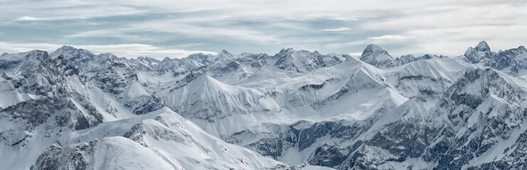 Large panoramic view from the Nebelhorn mountain, Bavarian Alps, Oberstdorf, Germany