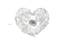Stone Hit  Glass Heart-shaped