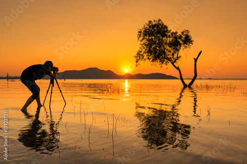 Canvas Prints Honey Silhouette of photographer