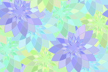 Seamless Pattern With Blue Green Floral Guilloche. Vector Illustration