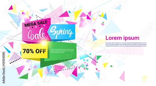81b15306912 Spring Sale Shopping Special Offer Holiday Banner Flat Vector Illustration