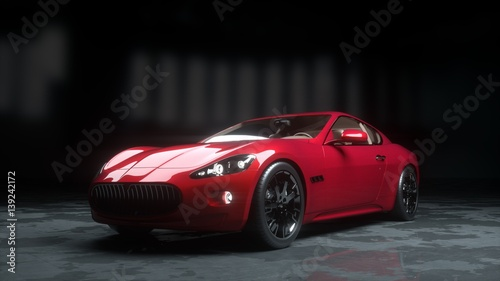 luxury red sport car . realistic 3d rendering. Canvas Print