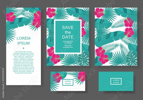 Template with tropical flowers and leaves. Pattern flyer, invitation, flyer, business card.
