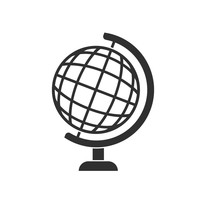 Simple Gray Globe Icon Isolated On White Background. Web Site Page And Mobile App Design Element. Flat Design For Graphic Design, Logo, Social Media, UI, EPS10.