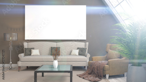 Foto op Aluminium Wand mock up poster frame in interior background. 3D Illustration