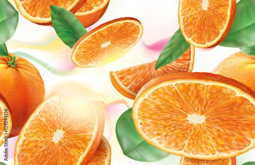 plasterki-pomaranczy-i-zielone-liscie-na-bialym-tle