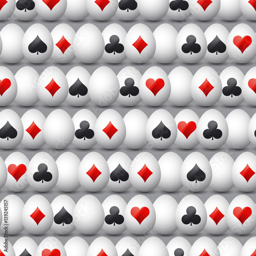 Seamless  gambling background with red and black symbols over easter eggs, vector illustration плакат