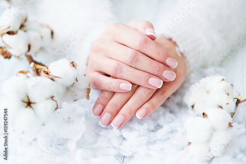 Photo sur Aluminium Manicure Woman hands with beautiful French manicure holding delicate white cotton flower