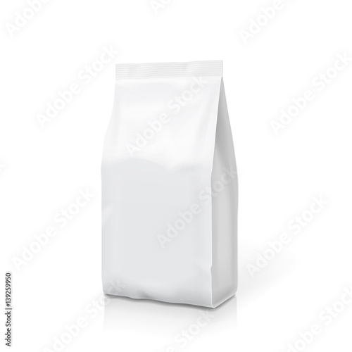 Fototapeta White foil or paper food stand up snack bag clipping path. Blank sachet packaging illustration. Vector isolated template obraz