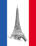 Fototapeta Wieża Eiffla - Flaga z wieżą Eiffla