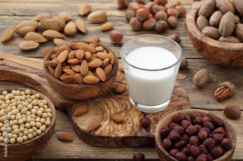 Fotografie, Obraz  latte di frutta secca mandorle noci nocciole su sfondo rustico