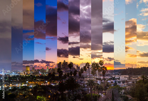 Photo  Los Angeles Slices of Time Timelapse Sunset Day To Night