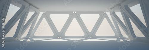 Photo  White Interior Design 3D rendering