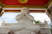White Fat Buddha Statue Hand Blind Eye Or See No Evil Buddhas Statues For People Praying At Wat Pa Mok