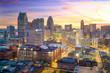 Leinwanddruck Bild - Aerial view of downtown Detroit at twilight