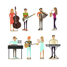 Vector Flat Icons Set Of Music...
