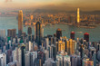 Hong Kong city business downtown aerial view over Victoria Bay with sunset tone