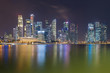 Singapore city central business downtown over Marina Bay, night view cityscape downtown