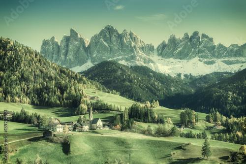 Fotobehang Olijf Vintage Landscape with Mountains