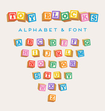 3D Alphabet Blocks, Toy Baby Blocks Font In Bright Colors