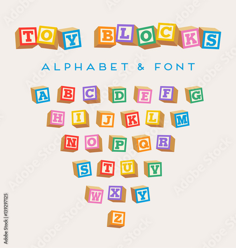 Photo 3D alphabet blocks, toy baby blocks font in bright colors