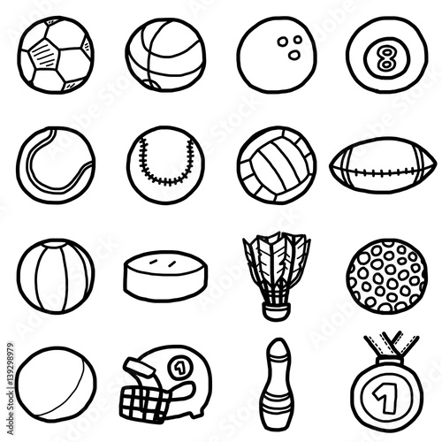 Sport Balls Icons Set Cartoon Vector And Illustration Hand Drawn Style Black And White Isolated On White Background Buy This Stock Vector And Explore Similar Vectors At Adobe Stock Adobe Stock