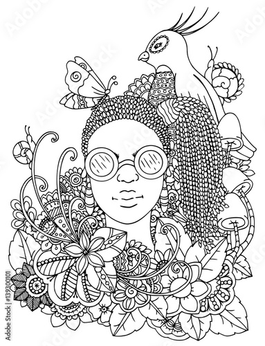 Vector Illustration Zentangl Girl With African Braids In The Flowers