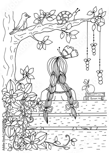 Poster Doodle Vector illustration of handmade work, zentangl girl sitting on the bench. Doodle drawing. Coloring page Anti stress for adults. Black and white.