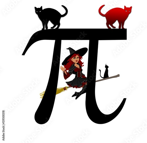Fotografia, Obraz  Pi with witch and cats, Greek letter,