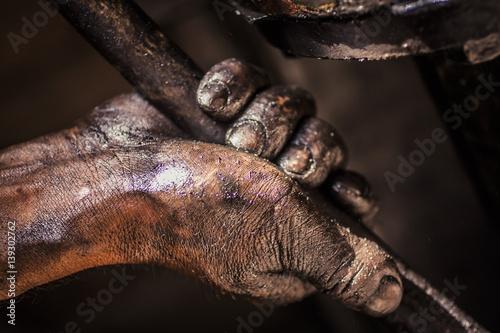 Fotografie, Obraz  Grease on hands
