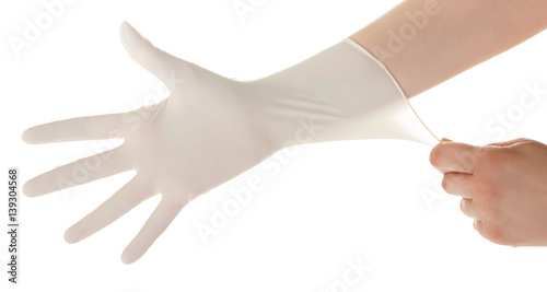 Valokuva  Doctor show hands with sterile gloves isolated on white