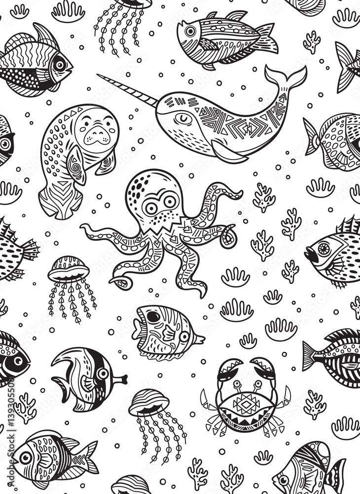 Aquatic animals seamless pattern for children coloring book ...