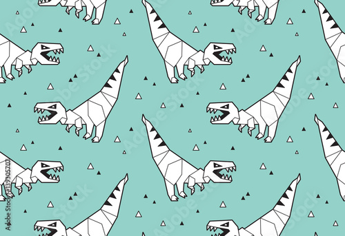 mata magnetyczna Origami pattern background with dinosaurs