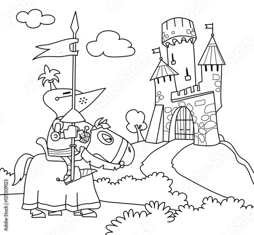- A Wandering Knight On A Horse Near The Castle. Coloring Book. Cartoon  Vector Illustration - Buy This Stock Vector And Explore Similar Vectors At  Adobe Stock Adobe Stock
