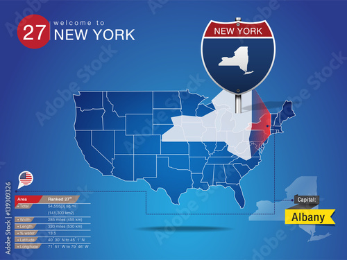 Sign of State American in Road Style on Map USA  NEW YORK