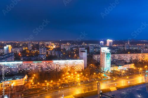 Staande foto Kiev Minsk, Belarus. Aerial View Cityscape In Bright Blue Hour Evening