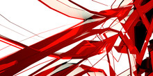 Abstract Background With Glossy Red Sculpture, 3 D Render